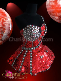 CHARISMATICO Richly Embellished Mirror Studded Asymmetrical Red Diva Dolly Corset Dress