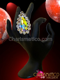 Charismatico Shimmering Rhinestone Accented Lively Iridescent Teardrop Shaped Crystal Diva Ring