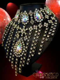 CHARISMATICO Rhinestone Accented Fringed Iridescent Teardrop Crystal Choker Style Diva Necklace