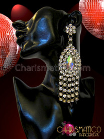 Charismatico Rhinestone Cluster Double Layer Accented Iridescent Teardrop Crystal Chandelier Earrings