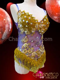 CHARISMATICO Sheer Purple Based Golden Appliqué Crystal Accented Leotard With Fringe