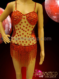CHARISMATICO Nude Ruby Crystal Decorated Red Sequin Beaded Fringe Dance Leotard
