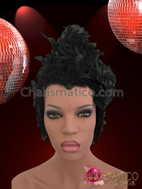 CHARISMATICO Slick Shimmering Black Raven Feather Evil Queen Diva's Halloween Headdress