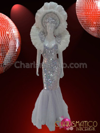 CHARISMATICO Silver Sequined Mermaid Pageant Gown With Matching Headdress and Collar