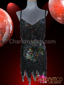 CHARISMATICO Shimmering Iridescent Black Sequin Latin Dance Dress With Beaded Fringe