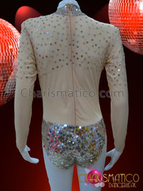 CHARISMATICO Sequin Accented Mock Turtleneck Long Sleeve Nude Leotard Style Bodystocking