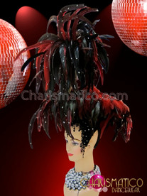 CHARISMATICO Iridescent Crystal Accented Towering Diva's Black and Red Feather Headdress