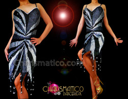 CHARISMATICO Multi-Toned Silver To Black Sequin Flame Hemmed Latin Dance Dress