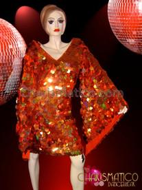 CHARISMATICO Metallic Jumbo Sequin Covered Diva Drag Queen's Orange Wing Dress