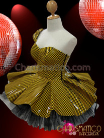 "CHARISMATICO Diva's ""brown"" Sleek Yellow And Black Checker Vinyl Dollie Dress"