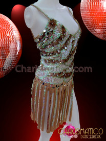 CHARISMATICO Brown and White Zebra Stripe Sequin Self-Fringed Latin Dance Dress