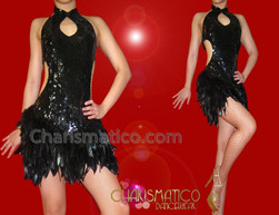 CHARISMATICO Slinky Metallic Sequined Black Raven Feather Keyhole Neckline Dance Dress