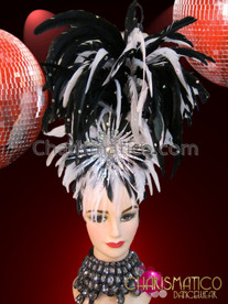 CHARISMATICO Diva Showgirl's Iridescent Crystal Accented Black and White Feather Headdress