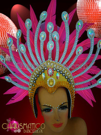 CHARISMATICO Hot Pink Feather Diva Showgirl Headdress With Sky Blue Accents