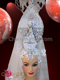 CHARISMATICO Diva's Silver Accented Tall White Feather Topped Lace Bridal Headdress
