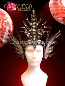 CHARISMATICO Ornate Crystal and Rhinestone Accented Black Mercury Wing Crown Headdress