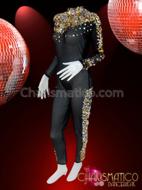 CHARISMATICO Silver and Gold Sequin Accented Shimmering Black Burlesque Diva Catsuit