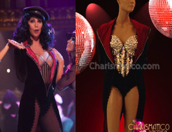 CHARISMATICO Red Trimmed Ringmaster Coat and Sequin Leotard Cher Burlesque Costume
