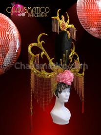 CHARISMATICO Ornate Gold Antler Chinese Pink Peony Flower Beaded Fringe Headdress