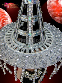 CHARISMATICO Silver and Iridescent Crystal Accented Beaded Fringe Cone Hat Headdress