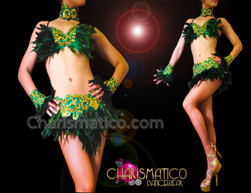 CHARISMATICO Gold Accented Appliqué Embellished Green Feather Bra With Matching Skirt