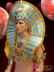 CHARISMATICO Sky Blue Accented Golden Egyptian Pharaoh Headdress With Ruby Crystals