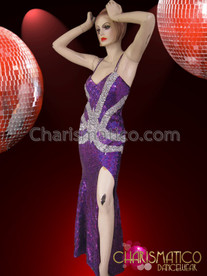 CHARISMATICO Figure-Flattering Silver Enhanced Purple Sequin Diva Drag Queen Pageant Gown
