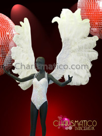 CHARISMATICO Diva Showgirl's Angelic Fluffy White Ostrich Feather Cabaret Wing Backpack
