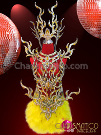 CHARISMATICO Amber Accented Gold Coral Style Yellow Feather Diva's Costume Set