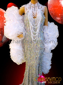 CHARISMATICO Silver Sequin Pageant Gown With White Gothic Necklace and Boa