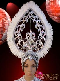 CHARISMATICO Open Work Silver Glitter Crystal Embellished White Feather Teardrop Headdress