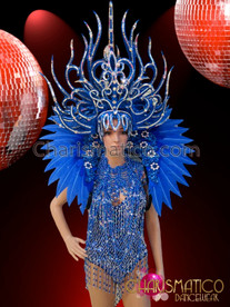 CHARISMATICO Metallic Silver Accented Royal Blue Diva Showgirl Burlesque Costume Set
