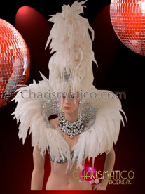 CHARISMATICO Iridescent Crystal Silver White Feather Diva Headdress With Matching Collar