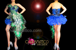 CHARISMATICO Royal Blue Based Green Peacock Feathered Appliqué Corset Dollie Dress