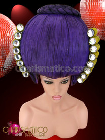 CHARISMATICO Intense Purple Baroque Headdress With Golden Curls Accented With Crystals