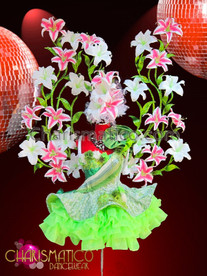 CHARISMATICO Glittery Green Dolly Dress With Asian Lily Floral Wing Backpack