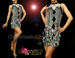 CHARISMATICO Black Accented Metallic Silver Sequin Keyhole Style Latin Dance Dress