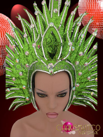 CHARISMATICO Spiky Silver Accented Crystal Embellished Green Glitter Diva Showgirl Headdress