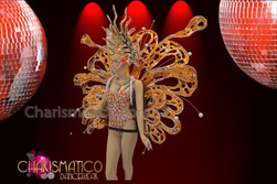 CHARISMATICO Three Piece Orange Sequin Butterfly Fairy Cabaret Showgirl Costume Set