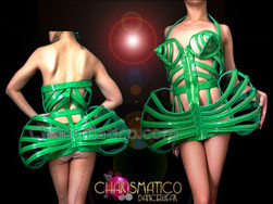 CHARISMATICO Sexy Green Shiny Vinyl Madonna Inspired Corseted Cage Dress Costume