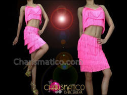 CHARISMATICO Two Piece Cross Strap Halter and Mini Skirt Pink Fringe Dress