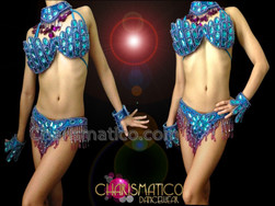CHARISMATICO Purple Accented Blue Beaded Samba Bra With Matching Thong Set