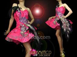 CHARISMATICO Diva's Sexy Fuchsia Brocade Purple Peacock Appliqué Accented Dolly Dress