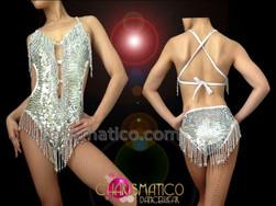 CHARISMATICO Showgirl's Classic Halter Style Metallic Silver Sequin Latin Dance Leotard