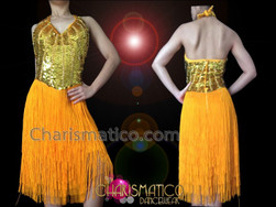 CHARISMATICO Halter Style Golden Sequin And Fabric Fringe Latin Dance Dress