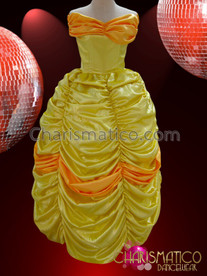 CHARISMATICO Beauty and the Beast Inspired Orange Trimmed Yellow Ballgown Dress