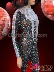 CHARISMATICO Iridescent Sequin Studded Black Catsuit With Crystal Beaded Gothic Necklace