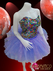 CHARISMATICO Classic Rainbow Sequin Corset With Shimmering Organza Lilac Tutu Skirt