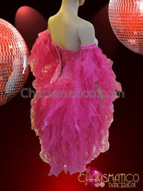 CHARISMATICO Crystal Accented Diva's Fuchsia Shimmering Sheer Organza Flame Ruffle Costume