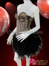 CHARISMATICO Tan and Black Brocade Beaded Fringe Corset With Feather Skirt